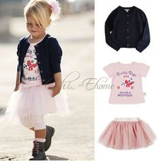 Girl Baby T-shirt+Cardigan+Tutu Dress Skirt Kids 3PC Costume Sets Outfits SZ 1-5