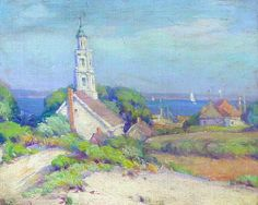 """""""Provincetown with the old Chrysler Museum Building,"""" Mabel May Woodward, oil on canvas, 8 x 10"""", Pierce Galleries."""