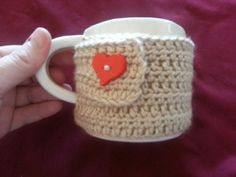Mug Hug Cozy Cream With Red Heart by BubblesOfDeath on Etsy, $4.00