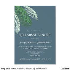 Navy palm leaves rehearsal dinner invitations