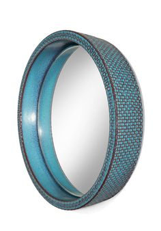 Stig Lindberg for Gustavsberg: A Unique Blue and Turquoise Ceramic Mirror | From a unique collection of antique and modern wall mirrors at https://www.1stdibs.com/furniture/mirrors/wall-mirrors/