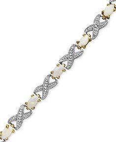 Victoria Townsend 18k Gold over Sterling Silver Bracelet, Opal (2 ct. t.w.) and Diamond Accent Bracelet - Bracelets - Jewelry & Watches - Macys