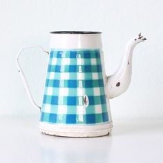 gingham coffee pot