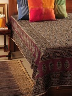 Red-Mustard Kalamkari Silk Special Double Bed Cover 100in X 89in