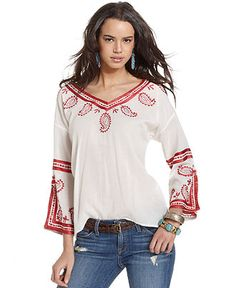 Lucky Brand Jeans Top, Three-Quarter Paisley Embroidered Blouse - Tops - Women - Macy's