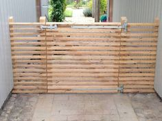 Driveway Gate, Fence, Diy Gate, Front Gates, Garden Spaces, Plank, Diy Furniture, Outdoor Living, Backyard