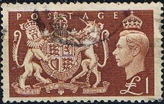 Great Britain 1951 King George VI SG 512 Royal Coat of Arms £1 Fine Used Scott 289 Other British Commonwealth Stamps HERE!