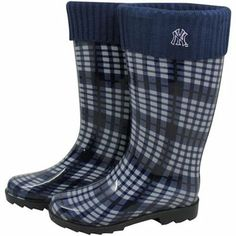 New York Yankees Ladies Navy Blue Plaid Cuffed Rain Boots