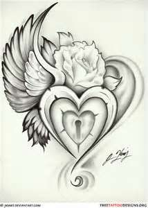 Winged Heart Lock Tattoo   Add and Alzheimer's ribbon and perfect for a memorial for my Mom.