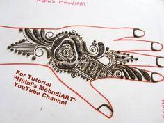"YouTube beautiful Arabic mehndi henna design tutorial art creation for back hand. Search ""Nidhi's MehndiART"" YouTube channel for all kind of mehndi henna design tutorial. #fashion #jewellery #trend #bridal #bride #wedding #marriage #festival #tradition #beautiful #girl #london #paris #canada #us #india #surat #ahmedabad #uk #arabic #floral #gulf #dubai #henna #mehndi #mehandi #art #drawing #tattoo #design"