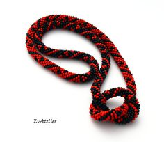 NEW! Black and red African rope beaded necklace bead by EvAtelier1
