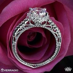 Eye candy! Verragio Beaded Shared-Prong Halo Diamond Engagement Ring