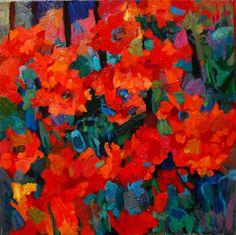 "Artist Larisa Aukon is represented at McCarthey Gallery, Park City, Utah ""Fence Jumper"" 20'' x 20'', (50.80 x 50.80 cm) 2013, Oil on Linen Meg 9597 Available at McCarthey Gallery"