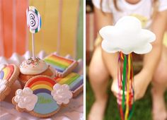 cloud cookies Rainbow Guest Dessert Feature Rainbow Loom Party, Rainbow Unicorn Party, Rainbow Birthday Party, Birthday Parties, Rainbow Desserts, Rainbow Activities, Colorful Party, Art Party, Pinwheels