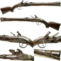 """Ottoman flintlock blunderbuss (smooth-bore gun with a funnel shaped muzzle).There are blunderbuss pistols, short and long muskets, some were swivel mounted. Blunderbuss is an anglicized version of the early Dutch Donderbuss or German Donner büchse (""""thunder gun""""). Blunderbusses were loaded with lead shot, not rocks or scrap. The flared muzzle does not cause the shot to disperse, but aids in the loading of shot into the barrel as when on a moving ship, horse or coach, 25.5 in long, 19th c."""