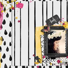 Snazzy Black and White Digital Scrapbook Paper Biggie by Creativeqube Design Layout 1