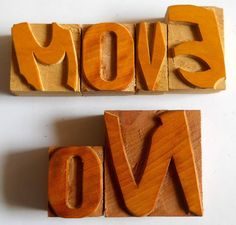 Nicely Hand Craft Letterpress Move on Wood Type Printers Block typography