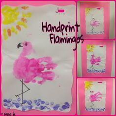 Handprint Flamingo Craft - Got this from other Pinterest ideas :) Our class used a half sheet of copy paper for the bodies and fingerprinted the sun and water below with teacher help. Then we mounted it on brightly colored, matching pink paper. The set in the picture above was done with 6-12 month olds. Toddler Crafts, Toddler Activities, Crafts For Kids, Sun Crafts, Summer Crafts, Preschool Colors, Preschool Activities, Flamingo Craft, Handprint Art