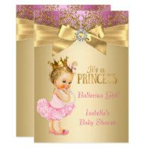 Princess Baby Shower Pink Gold Ballerina Blonde Card