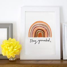 'Stay Grounded' Earth Rainbow Art Print Source by notonthehighstreet Art Prints Quotes, Wall Art Quotes, Wall Art Prints, Quote Wall, Gifts For Teen Boys, Teen Art, Rainbow Wall, Art Boards, Color Inspiration