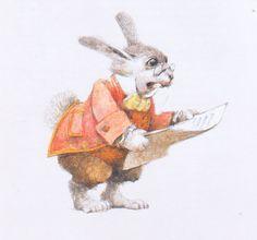 Robert Ingpen (Alice's Adventures in Wonderland by Lewis Carroll) Lewis Carroll, Alice And Wonderland Quotes, Adventures In Wonderland, Wonderland Party, Princess Alice, Bunny Art, Through The Looking Glass, Children's Book Illustration, Fantasy Art