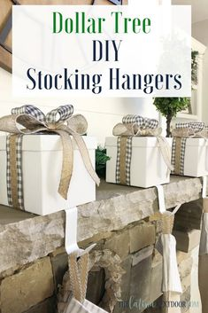 DIY Farmhouse Christmas Ornament - The Latina Next Door - Dollar Tree DIY Stocking Hangers The Effective Pictures We Offer You About dollar tree diy A quali - Dollar Tree Decor, Dollar Tree Crafts, Dollar Tree Christmas, Christmas Diy, Christmas Stuff, Christmas Decorations, Rustic Christmas, Farmhouse Christmas Ornaments Diy, Christmas Centerpieces