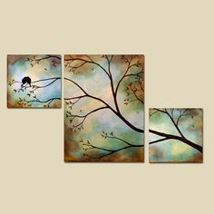 even if its not this exact painting, i like the 3 canvases to make 1 big picture Diy Canvas Art, Diy Wall Art, Large Painting, Painting On Wood, Multiple Canvas Paintings, Bird Fountain, Tree Artwork, Encaustic Art, Painting Lessons