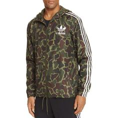 adidas Originals Camouflage Hooded Windbreaker ($80) ❤ liked on Polyvore featuring men's fashion, men's clothing, men's activewear, men's activewear jackets, camouflage and adidas originals