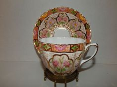 SALISBURY CUP AND SAUCER PINK GREEN & GOLD FLORAL PATTERN BEAUTIFUL!