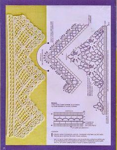 Puntillas con diagramas y patrones   Crochet y Dos agujas