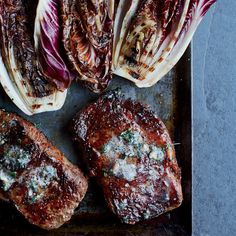 Rib Eye Steaks with Grilled Radicchio | F&W's mouth-watering rib eye recipes that are sure to impress. Read on for more.