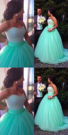 Gorgeous Green A Line Sweetheart Tulle Wedding Dresses Ball Gowns - 2019 Wedding Dresses - Inexpensive Bridesmaid Dresses, Affordable Wedding Dresses, Cheap Wedding Dress, Vestidos Zara, Vestidos Sexy, Ball Dresses, Ball Gowns, Evening Dresses, Dinner Gowns