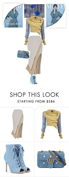 """""""Hold the pose, reign perception"""" by mrs-chevious ❤ liked on Polyvore featuring Maticevski, Vivienne Westwood Anglomania, Gianvito Rossi, Gucci, denim, booties, gucci, khaki and Vivienne"""