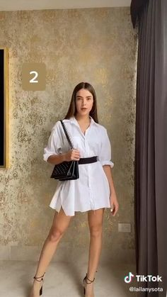 Oversized Shirt Outfit, White Shirt Outfits, Cute Casual Outfits, Stylish Outfits, Oversized White Shirt, Short Outfits, Spring Outfits, Look Fashion, Diy Fashion