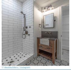 Custom Vanity, Diy Vanity, Deep Sink, Wooden Vanity, Concrete Sink, Wall Mount Faucet, Black Tiles, Basin Sink, Small Bathroom