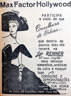 """Anúncio da Loja Renner de 1959 destacava a consultoria em beleza e """"maquilage"""". Foto: reprodução"""