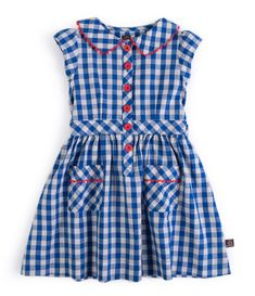 Children's clothes from Baby Bebe Boutique. Little Duckling Shirt Dress Little Duckling have produced a classic shirt dress in a unique cream and blue check with delicate red scalloping on collar and pockets. Frocks For Girls, Toddler Girl Dresses, Little Girl Dresses, Toddler Outfits, Frock Design, Baby Dress Design, Toddler Fashion, Kids Fashion, Kids Frocks Design