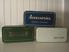 Vintage Singer sewing machine accessories/parts tins