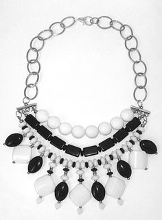 Glass bead & metal statement necklace