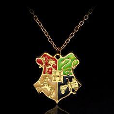 Harry Potter Hogwarts School Badge Pendant Necklace College Badge Movie Jewelry Men And Women Novelty Luxury New Designer 3D17