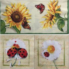 Set of 2(two)different napkins Sunflower& Ladybug cream for decoupage,decoupage under glass,mixed media,scrapbooking and other art door Dalilasdecoupage op Etsy