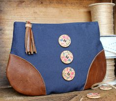 Gather inspiration to create your own leather corner zipper pouch. Accent your leather corner pouch with these vintage buttons from Wholeport
