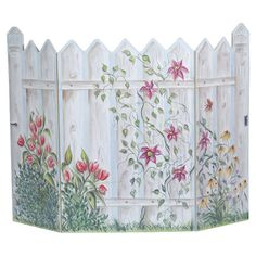 Found it at Wayfair - Picket Fence 3 Panel Fireplace Screen.I like the flowers on the screen. I plan on painting flowers on a picket fence and use it as a headboard.