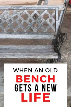 Check out this vintage outdoor bench DIY project. Perfect if you're looking for creative and original seating for your patio or backyard. this garden furniture idea makes for decorating on a budget easy. Pallet Patio Furniture, Garden Furniture, Furniture Ideas, Rustic Outdoor Decor, Rustic Patio, Cube Storage Shelves, Old Benches, Chair Planter, Old Coffee Tables