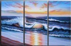 Amazon.com: Seascape Wave Ocean Abstract Wall Canvas Art Sets Painting for Home Decoration 100% Hand Painted Oil Painting Modern Art Large Canvas Wall Art Free Shipping 3 Piece Canvas Art Unstretch and No Frame: Home & Kitchen