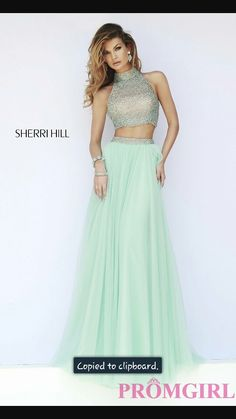 Turquoise blue 2 peice prom dress