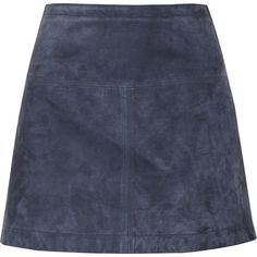 Burberry Brit Suede mini skirt (565 CAD) ❤ liked on Polyvore featuring skirts, mini skirts, bottoms, faldas, saias, storm blue, zipper skirt, suede mini skirt, short mini skirts and blue mini skirt