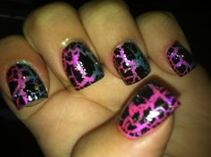 Pink and blue with sparkles and black crackle