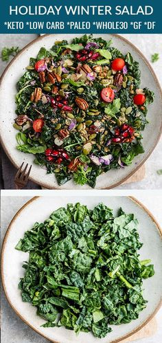 This Easy Winter Kale Salad is full of delicious flavor and texture & packed with yummy winter greens, and a homemade vinaigrette. It's also low carb, keto, paleo, gluten-free & dairy free so you can accommodate your guests with dietary concerns. Winter Salad Recipes, Kale Salad Recipes, Gluten Free Meal Plan, Free Meal Plans, Thanksgiving Recipes, Thanksgiving Holiday, Holiday Dinner, Holiday Recipes, Paleo Recipes Easy