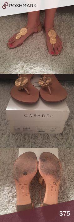 Casadei Gold Disc Flat Sandals Casadei flat gold sandals. Size 39. Worn Casadei Shoes Sandals